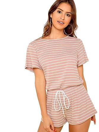 bd1b79e1cbb Amazon.com: SweatyRocks Women's Summer Casual Loose Elastic Waistband Short  Romper Jumpsuit: Clothing