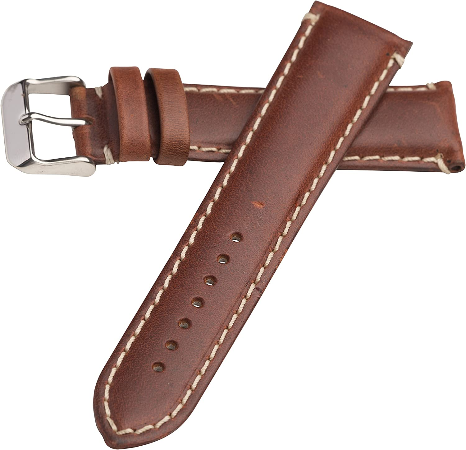 Hadley Roma MS885 22mm Watch Band Chestnut Oil Tan Leather Contrast Stitched
