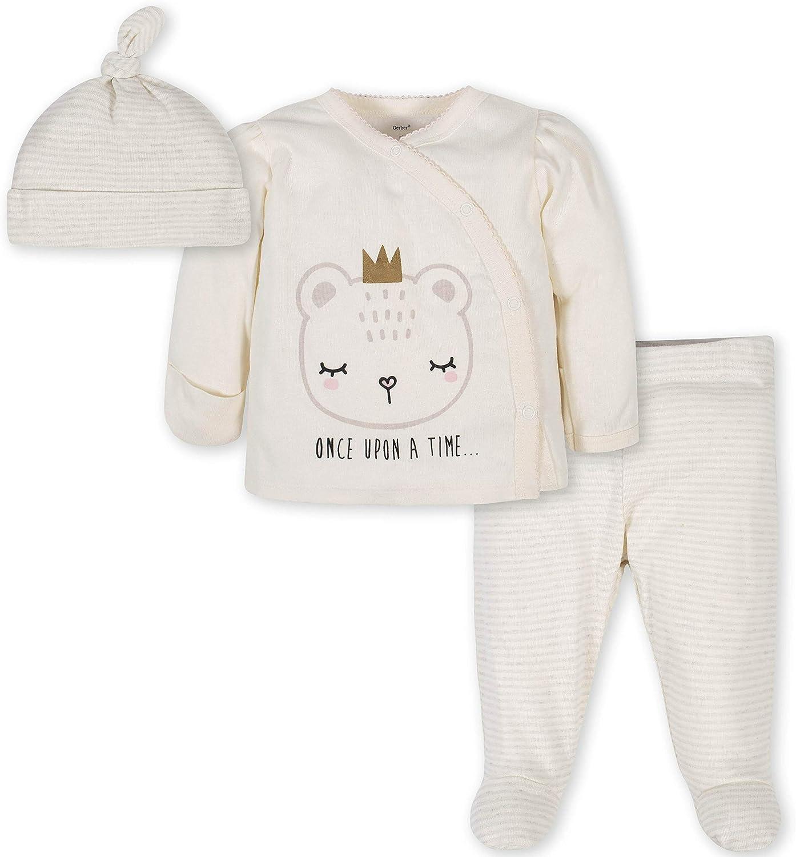 Gerber Baby Girls' 3-Piece Bodysuit, Pant and Cap Set