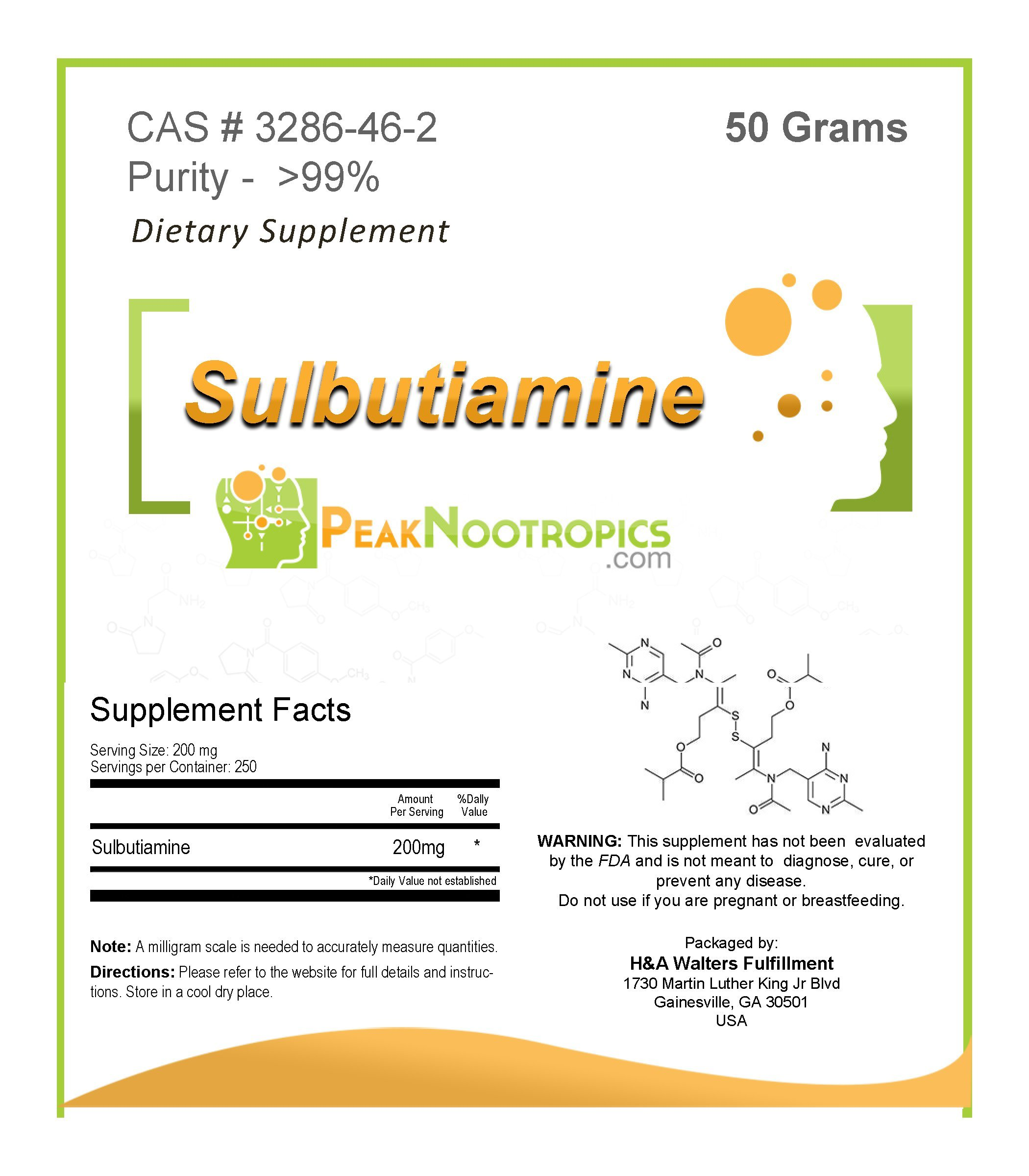 PeakNootropics Sulbutiamine Powder - 50 Grams - Nootropic Supplement by PeakNootropics
