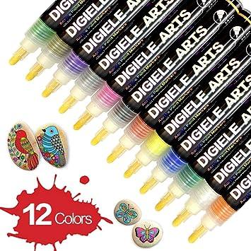 Marqueur Peinture Acrylique Digiele 12 Permanent Couleurs Vibrantes