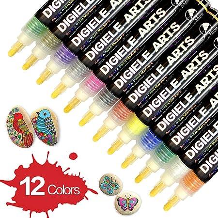 DIGIELE Steine Bemalen Stifte Set, 12 Farben Wasserfeste Permanent Acrylstifte Marker, Kinder DIY Stift Art für Stein, Rock-M