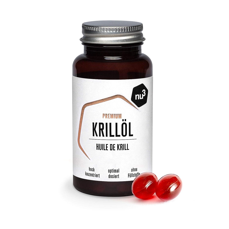 nu3 Aceite de Kril Premium | 60 cápsulas | Fuente 100% natural de ácidos grasos omega 3 | Sin sabor o aroma a pescado | Comprimidos con fosfolípidos para ...