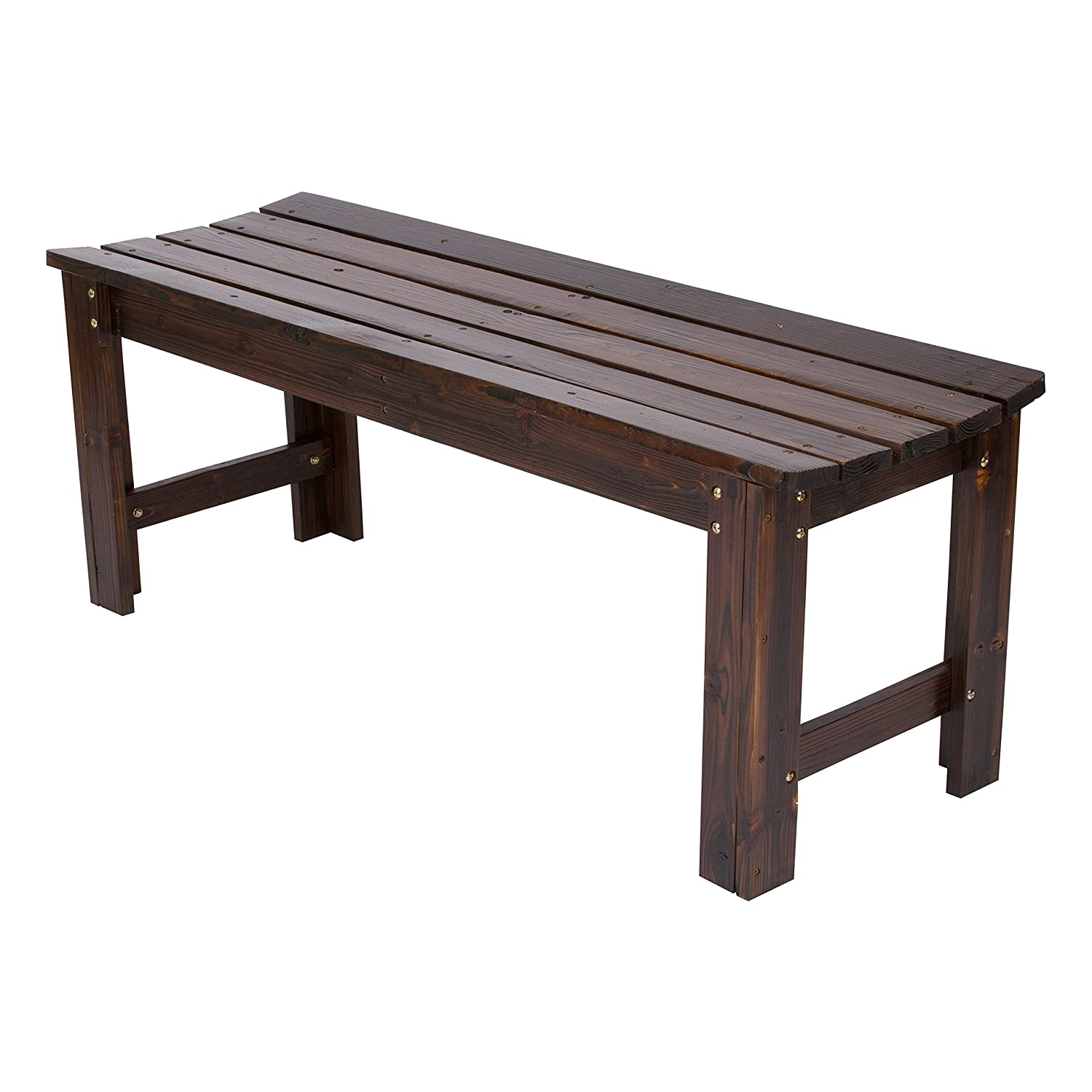 Shine Company Inc. 4204BB Backless Garden Bench, 4 Ft, Burnt Brown