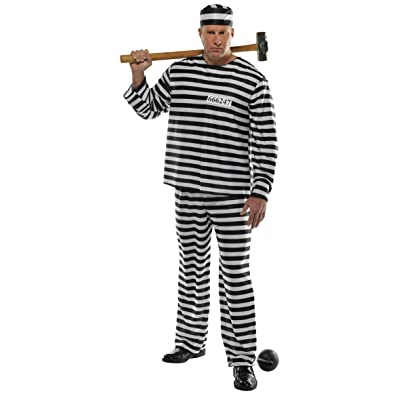 AMSCAN Jail Bird Convict Prisoner Halloween Costume for Men, Standard, with Included Accessories: Toys & Games