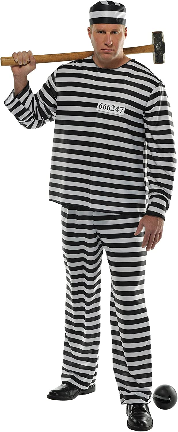Men/'s Classic Prisoner Jail Convict Halloween Fancy Dress Costume Outfit M /& L