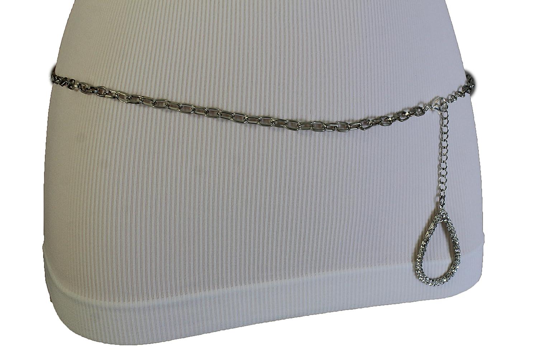 TFJ Women Fashion Skinny Belt Hip High Waist Silver Metal Chains Water Drop Buckle XS S M