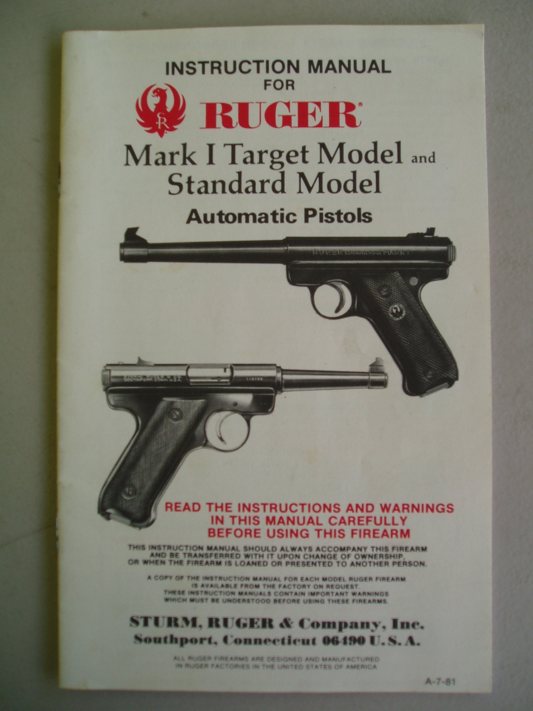 Instruction Manual for Ruger Mark II Automatic Pistol 1980/'s Standard /& Target