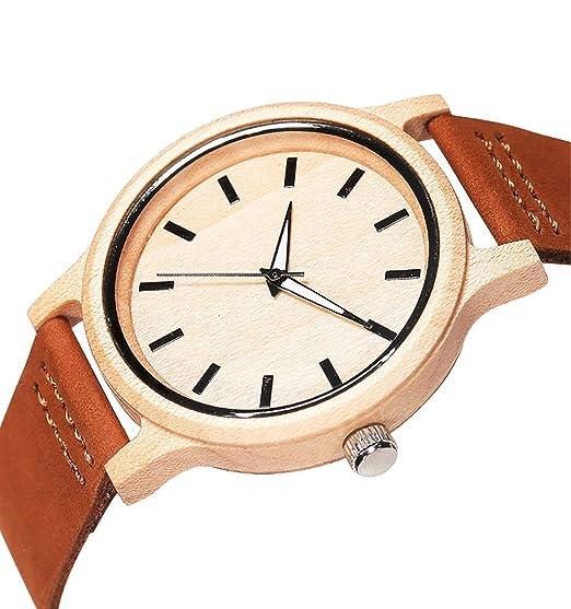 horbous reloj madera hombre mujer reloj a cuarzo pulsera de piel Wooden Watch Men Women Leather Strap Quartz Movement: Amazon.es: Relojes