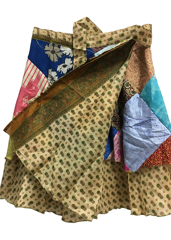 JK Patchwork Indian Bohemian Silk Reversible Wrap-Around Mini Skirt No18