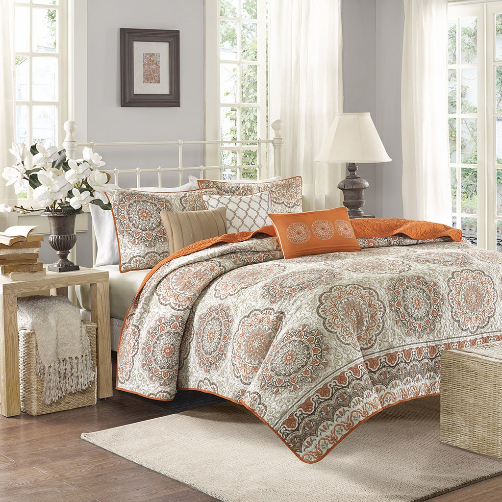 Madison Park Tangiers King/Cal King Size Quilt Bedding Set - Orange, Medallion – 6 Piece Bedding Quilt Coverlets – Ultra Soft Microfiber Bed Quilts Quilted Coverlet