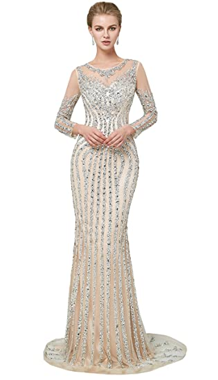 b9cb4d3278840 Maricopyjam Women's Luxury Long Sleeve Mermaid Prom Dress Sequins Crystal  Long Evening Dress Champagne