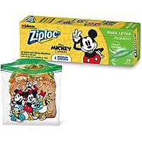 Saco Hermético Ziploc Para Levar Mickey e Amigos Sortido, 25 Sacos, Tamanho Pequeno