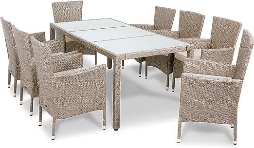 Deuba Conjunto de mesa y silla de poliratán 8+1 Gris Beige sillas apilables Muebles de jardín Set mesa y sillas cojines: Amazon.es: Jardín