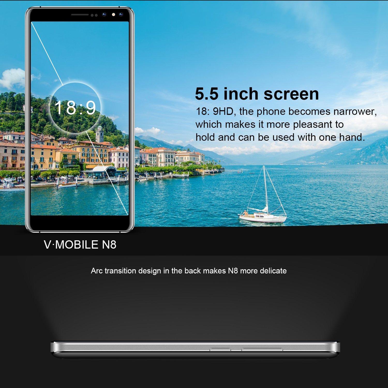 Unlocked Smartphone 2018,V Mobile N8-N 5 5 Inches 8 0MP Dual Rear Camera  16GB ROM Android 7 0 2800mAh Battery 3G Dual Sim Quad Core 18: 9 Screen