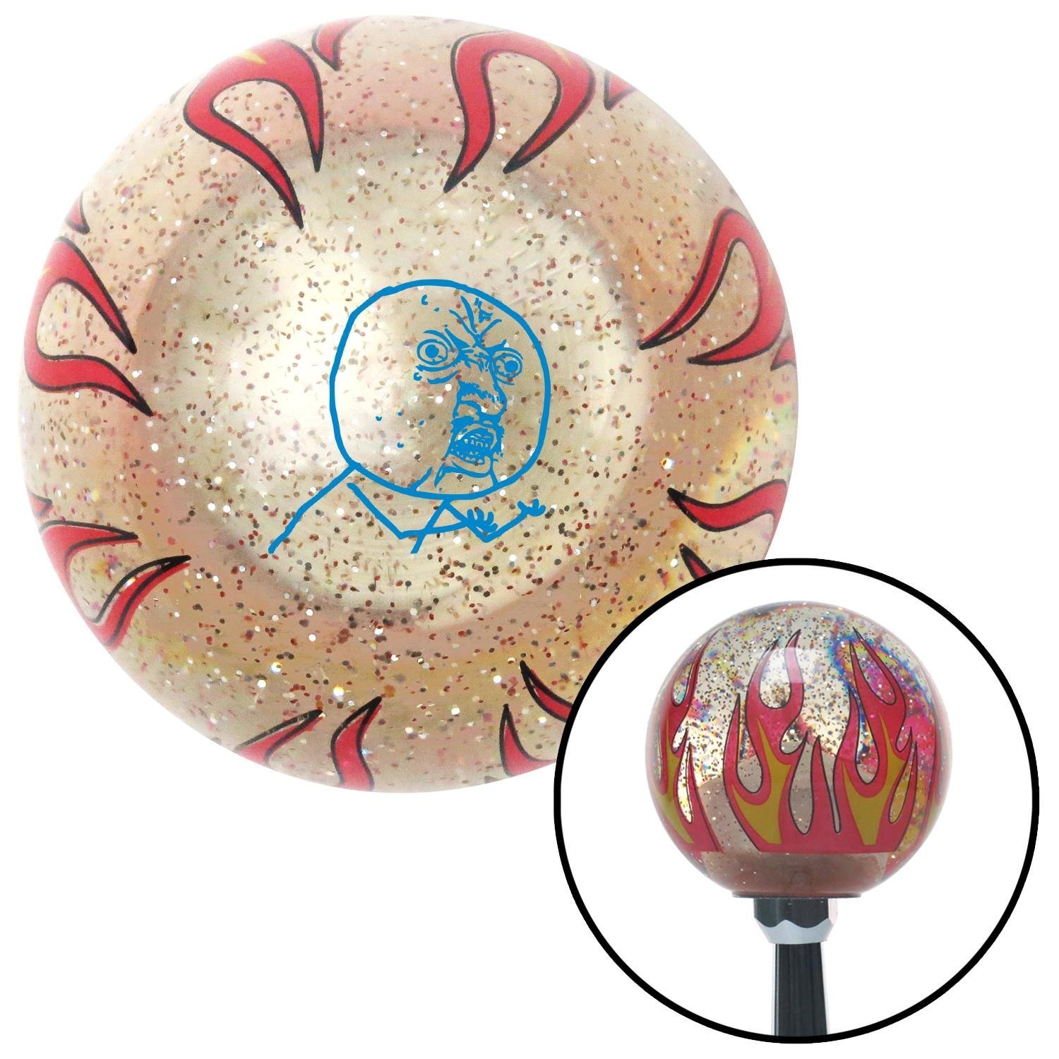 American Shifter 295430 Shift Knob Blue Yuno Clear Flame Metal Flake with M16 x 1.5 Insert
