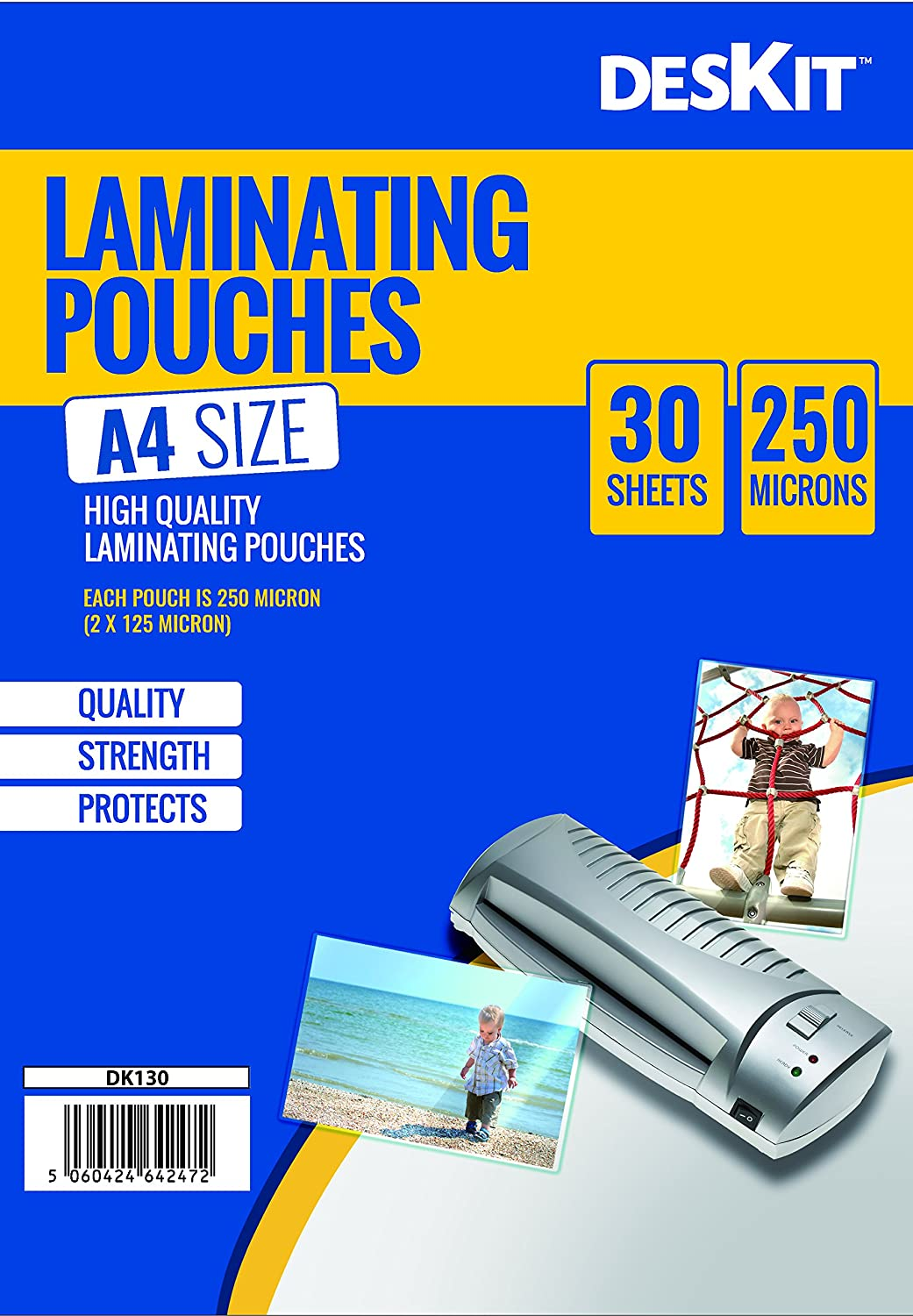 DESKIT 30 A4 Size Laminating Pouches 250 Micron Extra Strong Quality - Ideal for Photos & Heavy Duty Or Frequently Handled Documents. ALLKIT