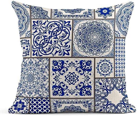 Kinhevao Cojín Patchwork Motivos victorianos Mayólica Cerámica Azulejo Azul y Blanco Original Portugués Tradicional España Cojín de Lino Almohada Decorativa para el hogar: Amazon.es: Jardín