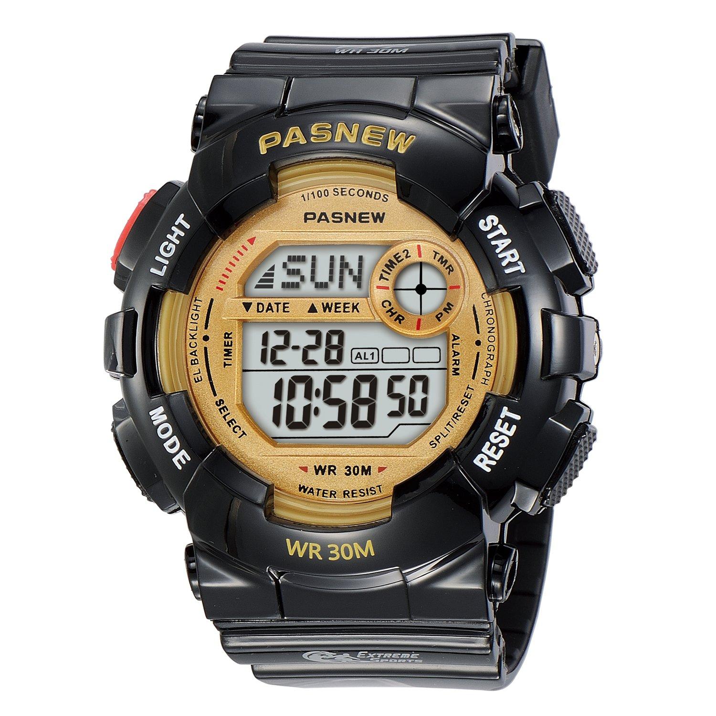 Kid's Quartz Digital Waterproof Outdoor Sport Watch for Teenage Boys and Girls Alarm Stopwatch Light (Black) by Dahery