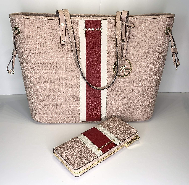 e4740f9180b8 MICHAEL Michael Kors Jet Set Travel Large Drawstring Tote bundled with Jet  Set Travel LG 3/4 Zip Wallet (Signature MK Ballet/Red Center Stripe):  Handbags: ...