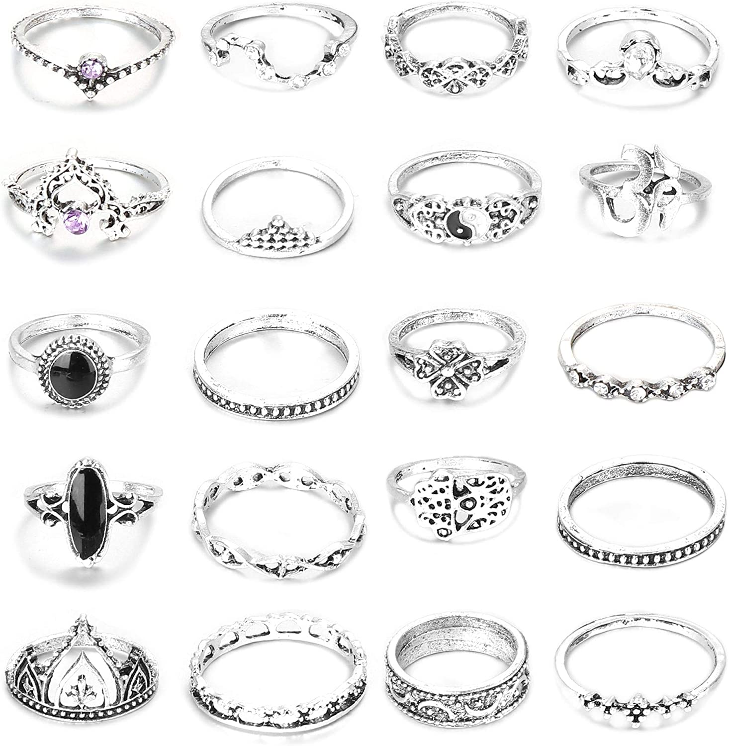 Besteel 20 Pcs Vintage Knuckle Ring Set for Women Girls Bohemian Style Stackable Midi Rings Hollow Carved Joint Ring