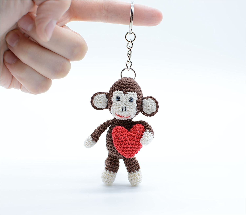 Keychain Monkey, crochet Monkey, Amigurumi Monkey, green Monkey ... | 1313x1500