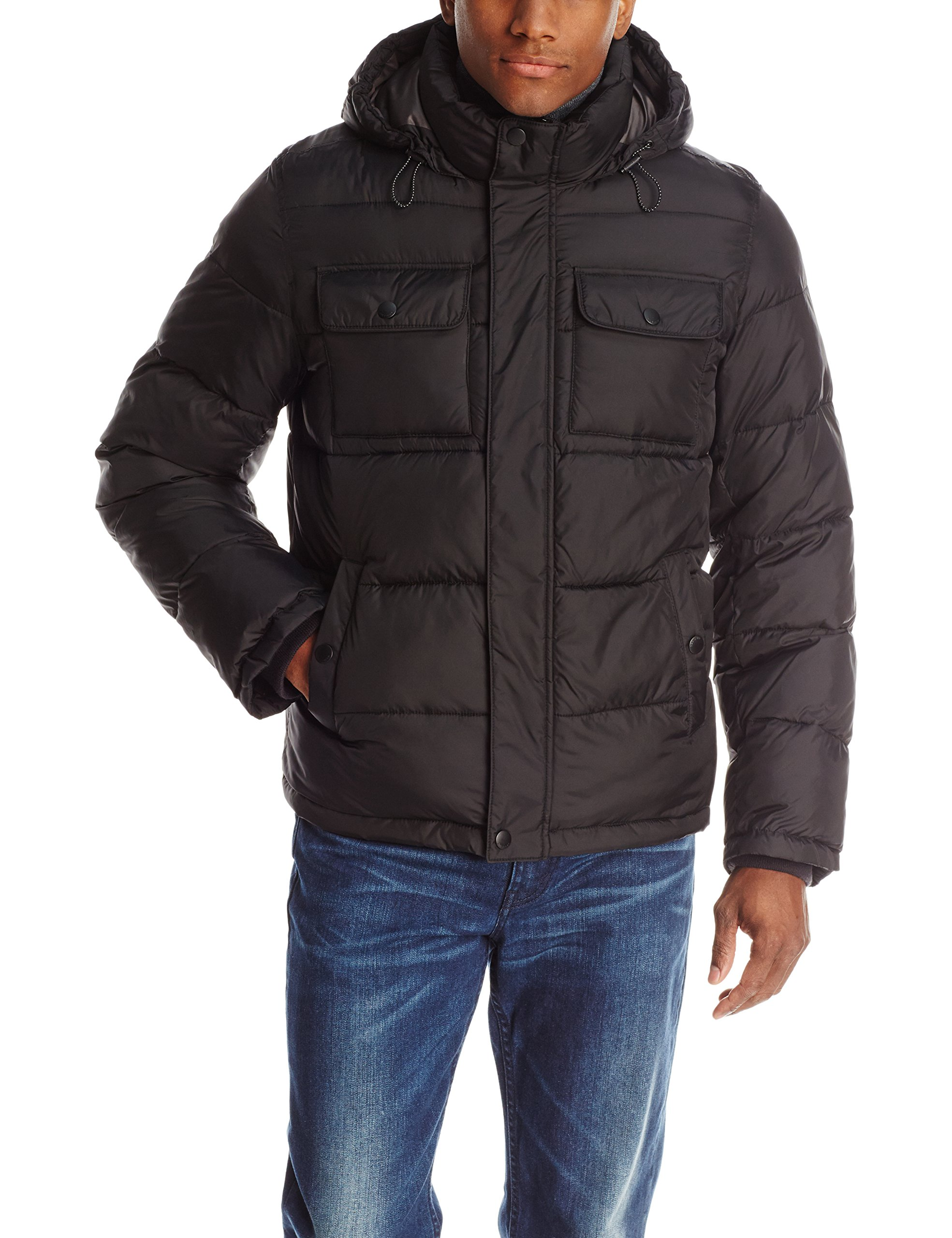 Tommy Hilfiger Men's Nylon Two Pocket Hoody Puffer, Black, Small