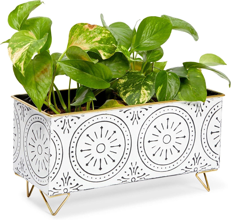 Rectangular Iron Planter, White Flower Pot (12.6 x 5.5 x 6.7 Inches)