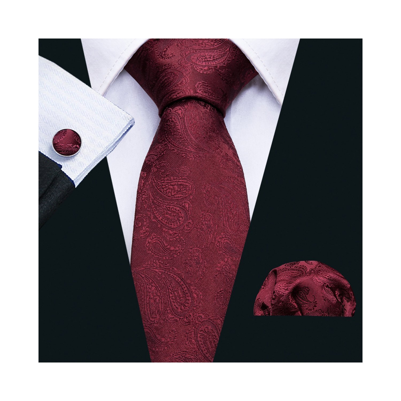 Paisley Tie Set Wedding Party Handkerchief Cufflinks for Men Silk
