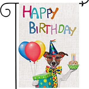 MuaToo Happy Birthday Garden Flag Dog 12 x 18,Cartoon Double-Sided Printing Imitation Linen Vertical Cute Small Dog Garden Flag for Home Yard Birthday Party.
