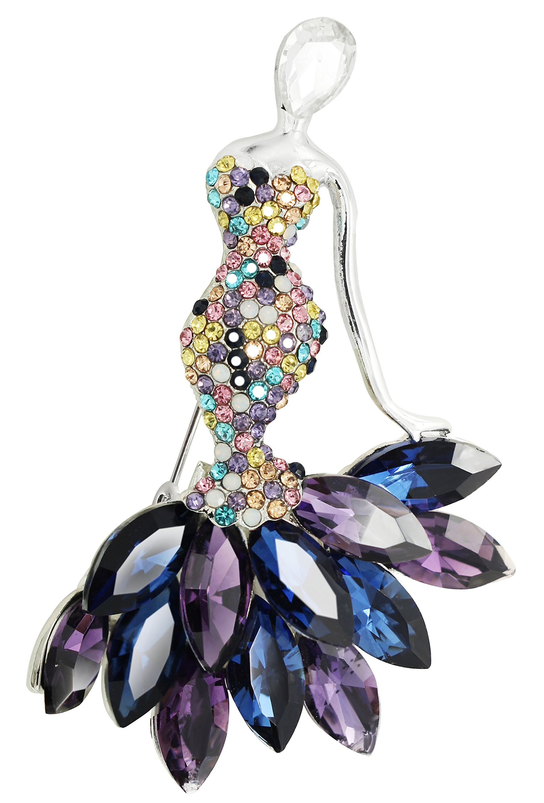 KristLand - Cute Cat Elegant Mermaid Austrian Crystals Rhinestone Women Corsage Pin Brooches Pin Silver Tone Purple