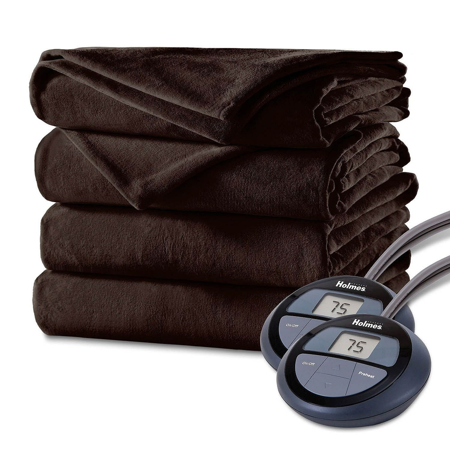 Holmes by Sunbeam Velvet Plush Electric Heated Blanket King Size Walnut Brown
