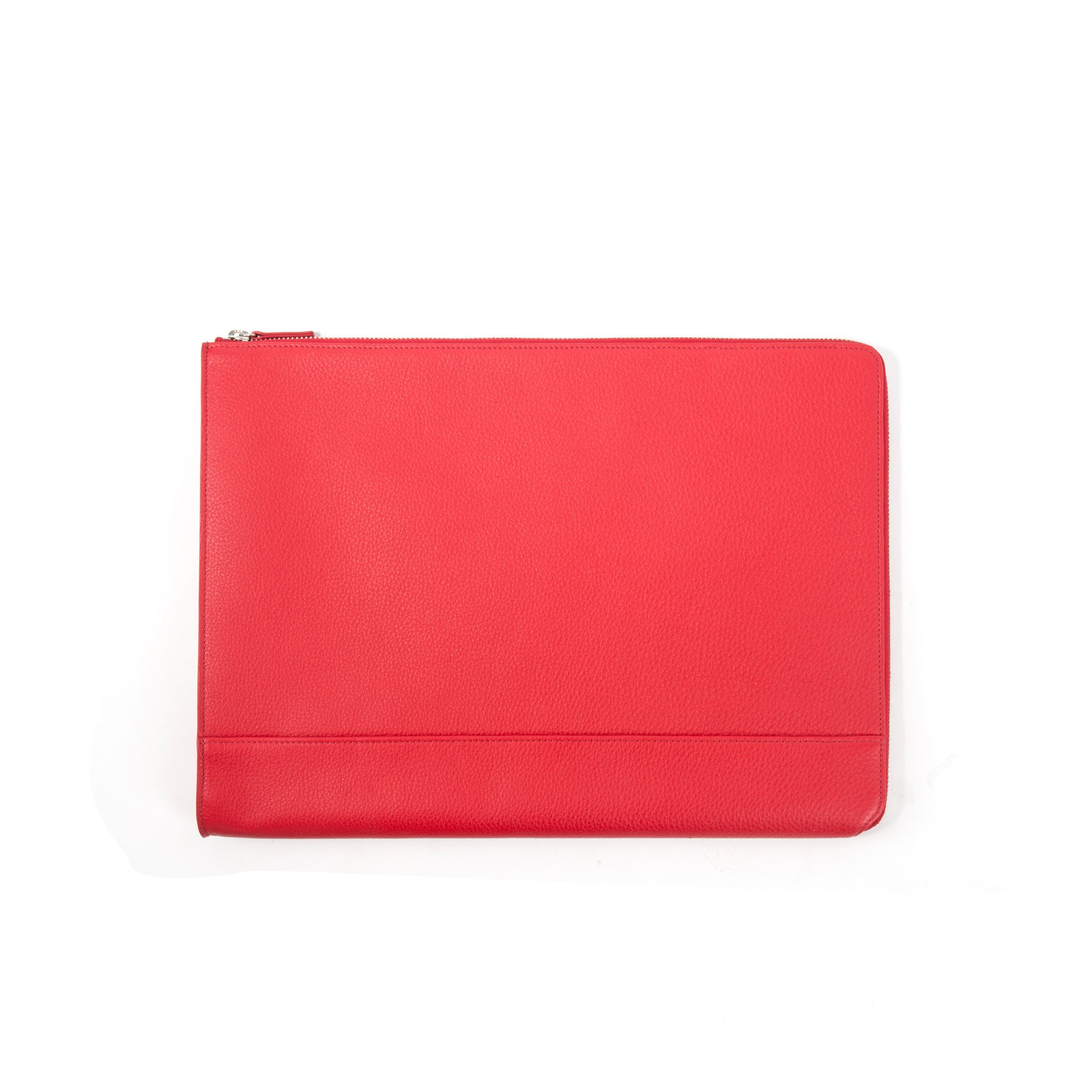 Leatherolgy Zippered Document Holder with Interior Pocket for Tablet - Full Grain Leather Leather - Scarlet (red)