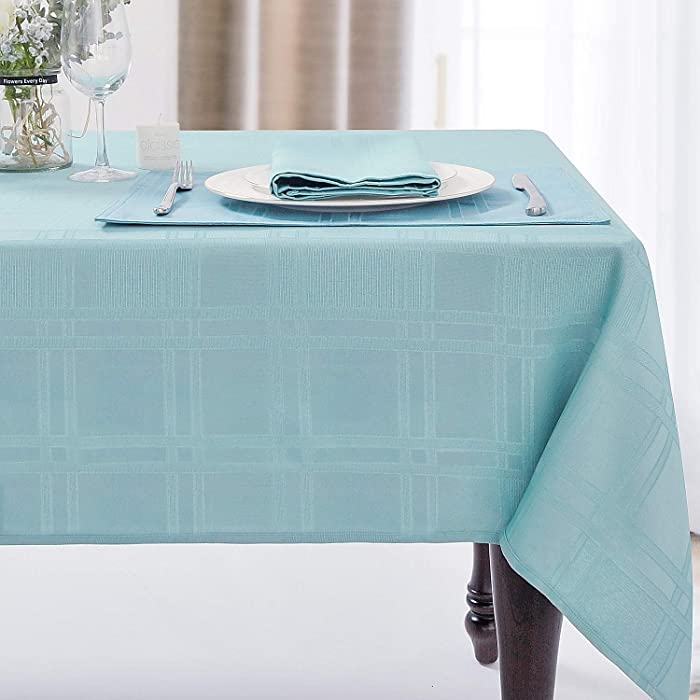 JUCFHY Soild Plaid Jacquard Table Cloth Elegance Wrinkle Resistant Contemporary Woven Decorative Tablecloths, Spillproof Soil Resistant Holiday Table Cover, 60 X 104, Turquoise