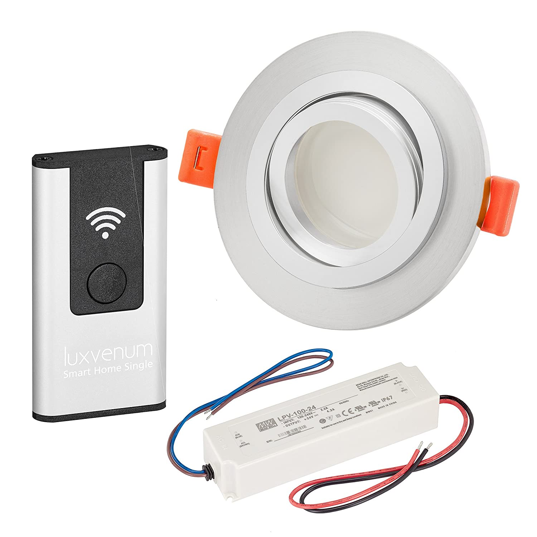 LUXVENUM   3er-Set Alexa Echo Smart Home kompatible LED-Einbaustrahler 230V extra flach 25mm DIMMBAR 6W statt 70W Lista Metalico Aluminium matt rund warmweiß 2700K