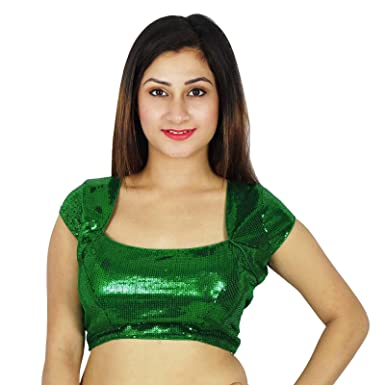 a035e2b6fcfb7 Phagun Green Designer Choli Blouse Women Dense Sequins Party Wear Crop-Top