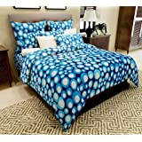Home Candy 144 TC Cotton Double Bedsheet with 2 Pillow Covers - Geometric, Blue