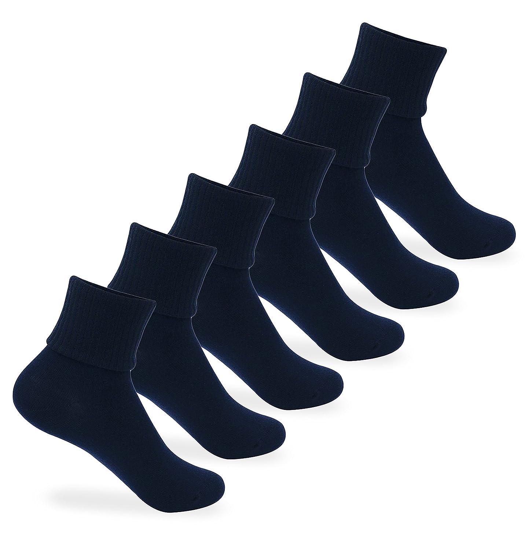 Jefferies Socks Unisex School Uniform Triple Roll Turn Cuff Socks 6 Pair Pack