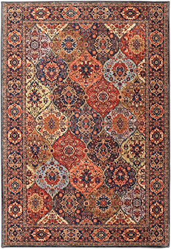 Nourison GRF21 Grafix Retro Eclectic Blue Multi Colored Area Rug 6 X9 , 6 x 9