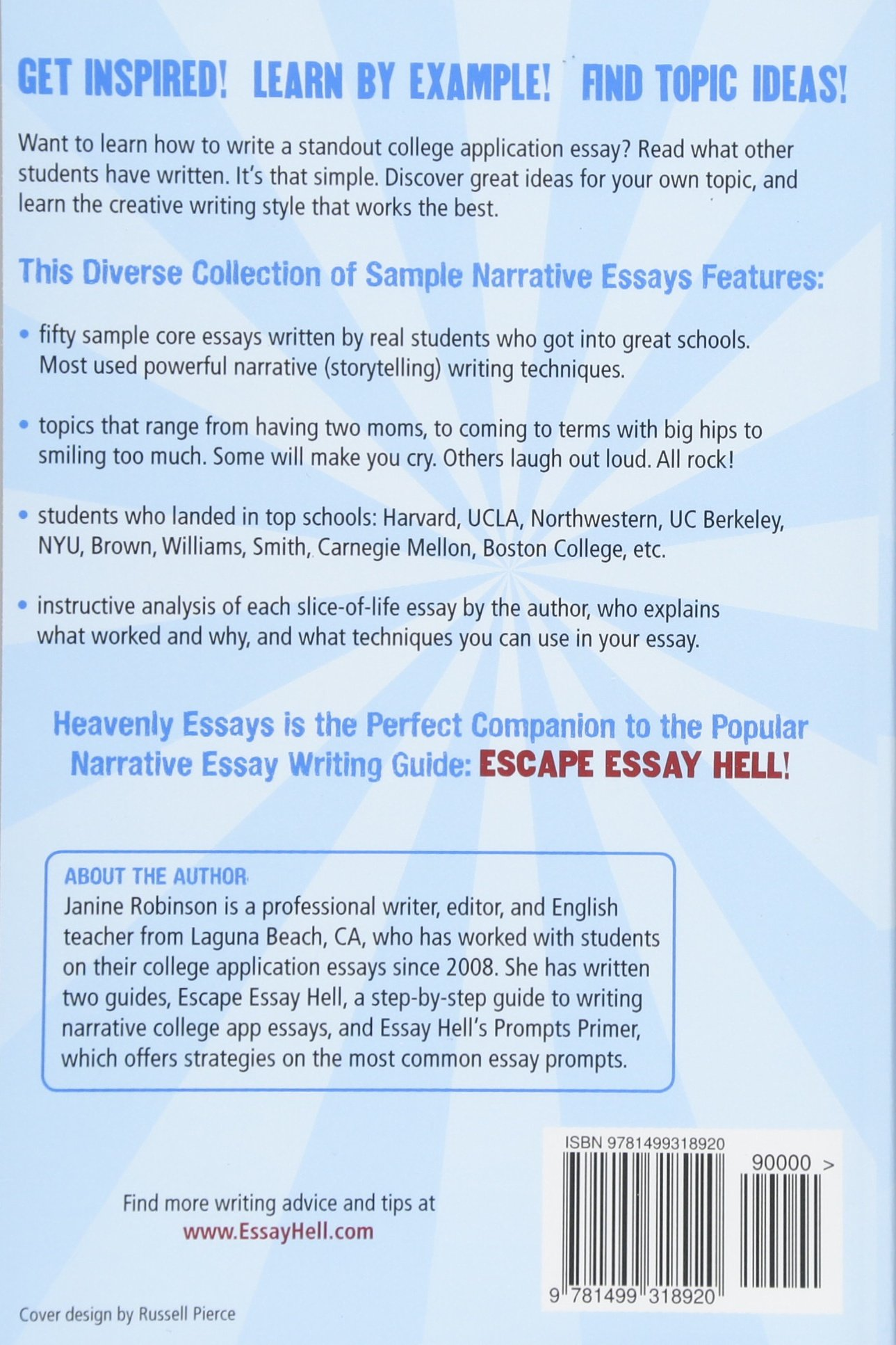 Heavenly Essays  Narrative College Application Essays That Worked  Heavenly Essays  Narrative College Application Essays That Worked  Janine W Robinson  Amazoncom Books High School Senior Essay also Thesis Statement Examples For Argumentative Essays  Computer Science Essay Topics