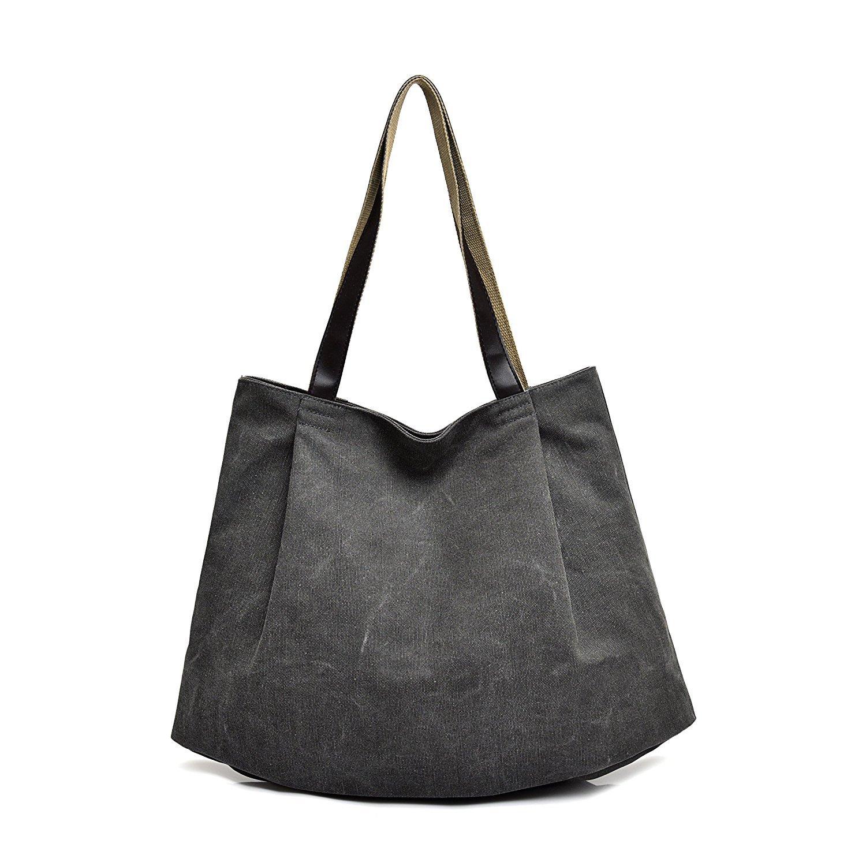 Mfeo Womens Fashion Multi Layer Canvas Handbag Big Shoppingbag Shoulder Bag Tote