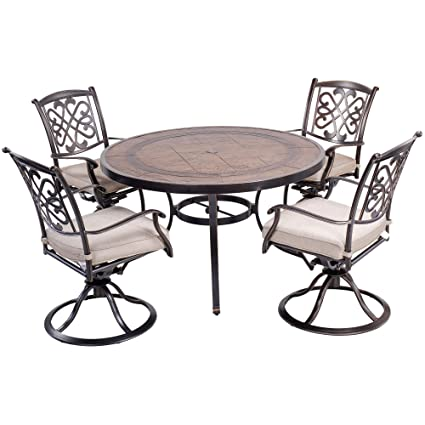 Cool Dali Outdoor 5 Piece Dining Set Patio Furniture Deep Cushioned Aluminum Swivel Rocker Chair Set With 48 Inch Round Crafttech Top Aluminum Table Home Interior And Landscaping Pimpapssignezvosmurscom