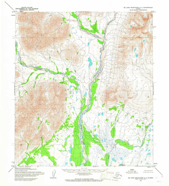 Amazon.com: YellowMaps De Long Mountains A 1 AK topo map, 1:63360 ...