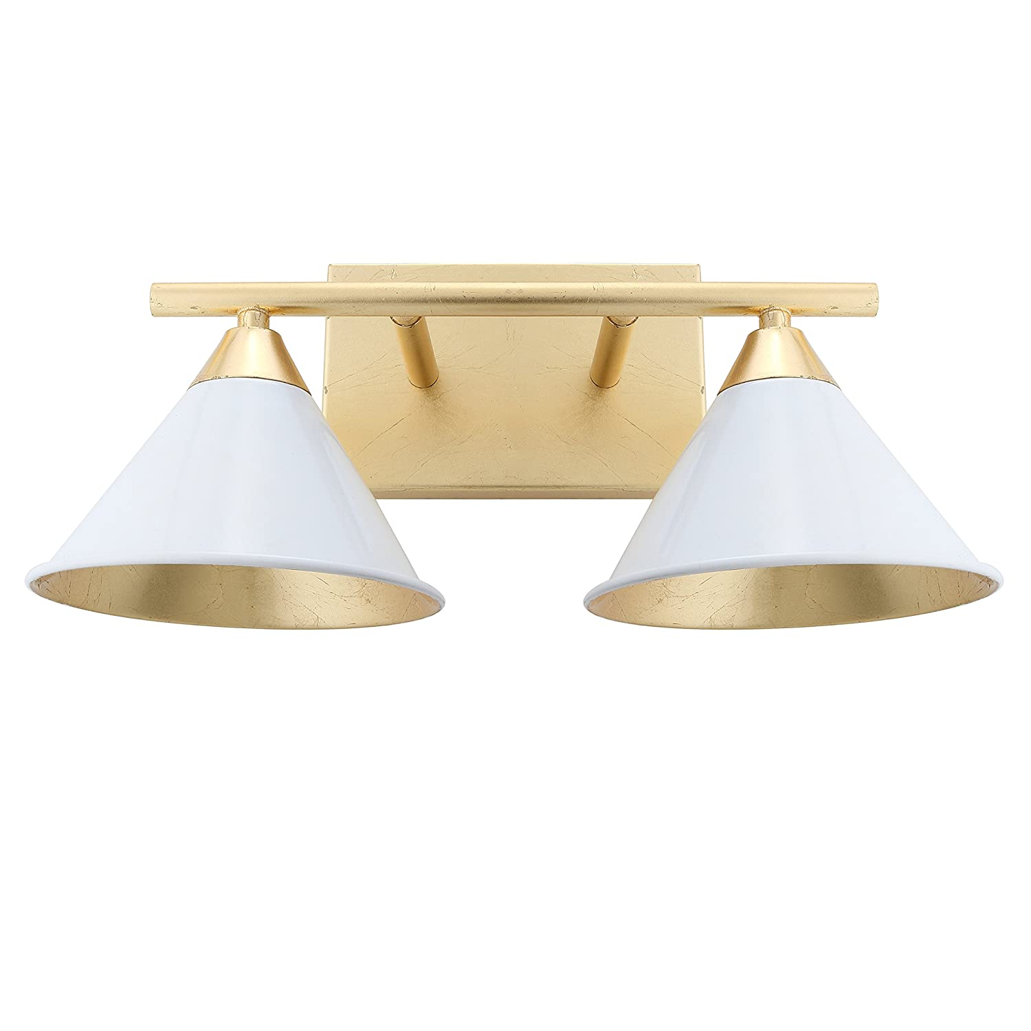 Yvette 2 light metal vanity wall light white gold by jonathan y