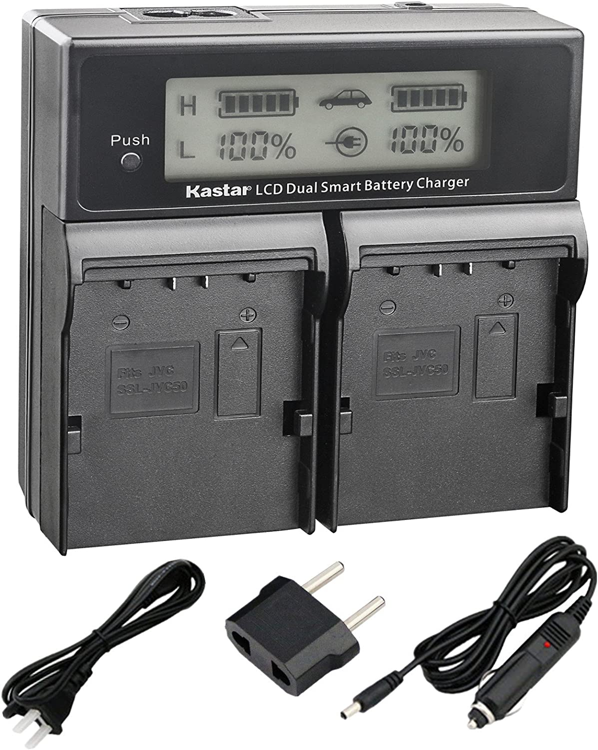 Kastar LCD Dual Smart Fast Charger Kit for JVC SSL-JVC50 and JVC GY-HMQ10, GY-LS300, GY-HM200, GY-HM600, GY-HM600E, GY-HM600EC, GY-HM650 Camcorders