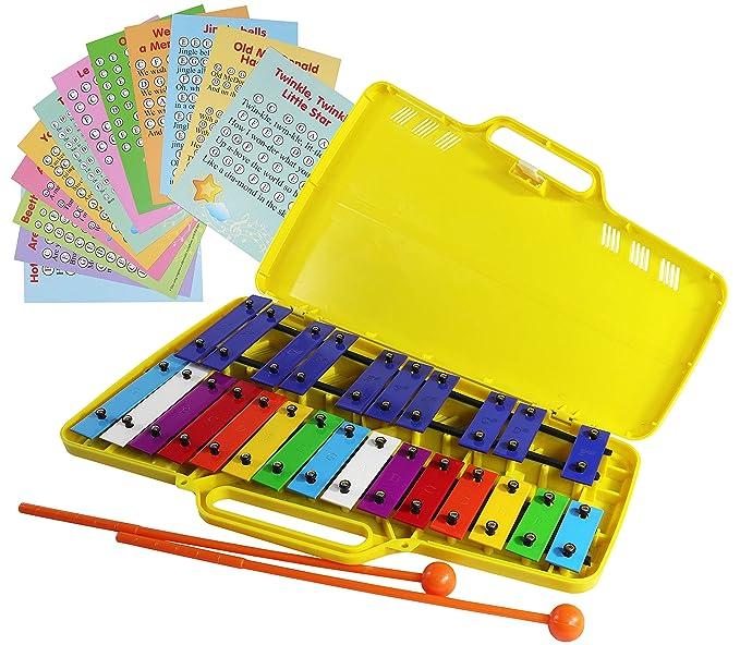 Xylophone Glockenspiel - Xilófono cromático de 25 notas en estuche de plástico amarillo, 12 tarjetas de música con 23 canciones, 17 colores: Amazon.es: ...