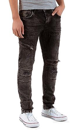 3ed27380ca18e by-tex Jeans Homme Slim fit Destroyed Jeans Pantalon Stretch Biker Jean  Coupe Slim A432