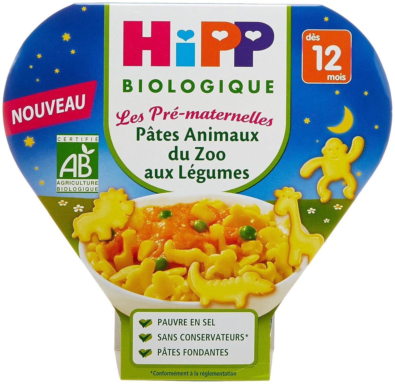 Hipp Biologique Les Pré -Maternelles Pâ tes Animaux du Zoo aux Lé gumes dè s 12 mois - 6 assiettes de 230 g 4062300260054
