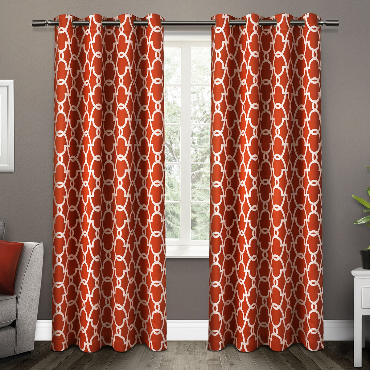 amazoncom exclusive home curtains gates sateen blackout thermal grommet top window curtain panel pair mecca orange 52x84 home u0026 kitchen
