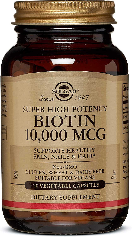 Solgar Super High Potency Biotin 10,000 mcg, Non-GMO, 120 Vegetable Capsules